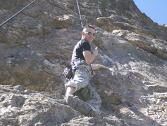 Rock Climbing Photo: Misfits. A 5.9 at Fume Wall outside of Durango Col...