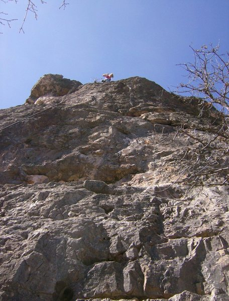Paige on TR on Misfit. First climb ever. Not too bad for a first climb.