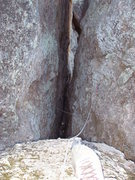 Rock Climbing Photo: Looking down 70' from the large chockstone at the ...