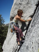 Rock Climbing Photo: Ginger starting out on Crescent Arch, Tuolumne Mea...