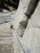 Rock Climbing Photo: Ginger follows on the Crescent Arch, Tuolumne Mead...