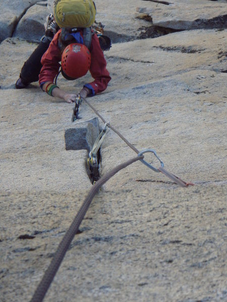 Rock Climbing Photo: Ginger following the final pitch of the Third Pill...