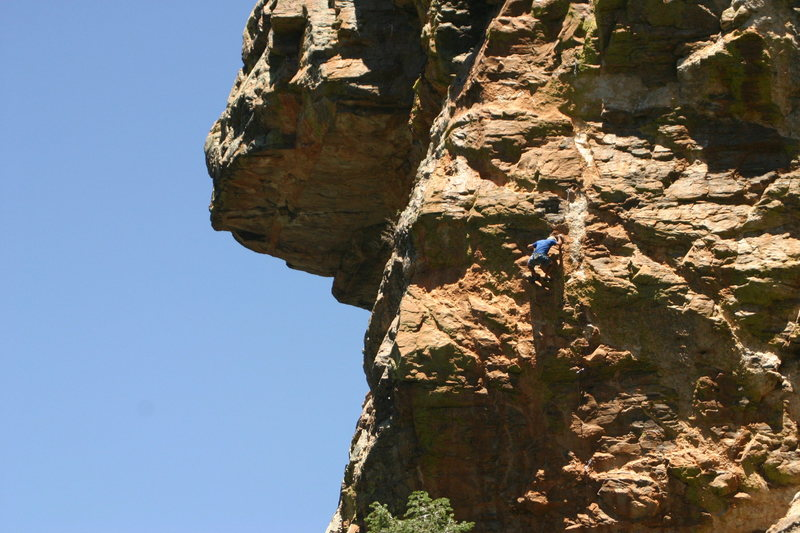Rock Climbing Photo: Jimbo high up with a long way still to go.   The b...