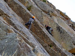 Rock Climbing Photo: Heading up the big left-facing corner just after t...