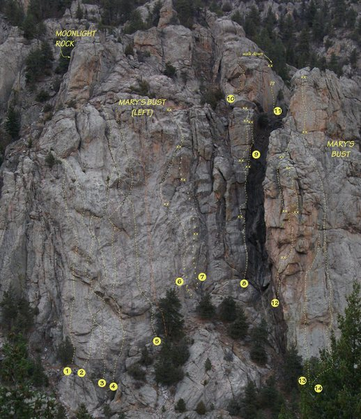Current routes on Mary's Bust, left buttress.<br> See details in comment below.