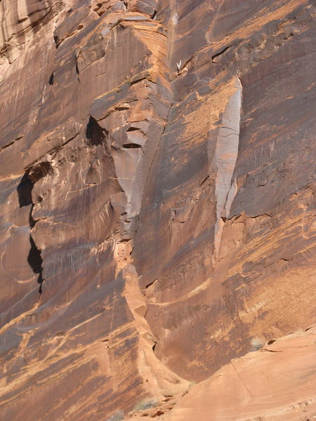 Close up of the route.  The crack appears much thinner than it is when viewed from the road.