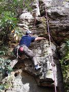 Rock Climbing Photo: Larry cleans gear on Razorback.
