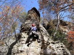 Rock Climbing Photo: Beautiful fall weather for leading Arrowhead.  Pho...