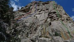 Rock Climbing Photo: South Face of the Pino Wall. Routes are shown from...