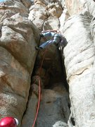 Rock Climbing Photo: Jim leading the layback roof problem just above th...