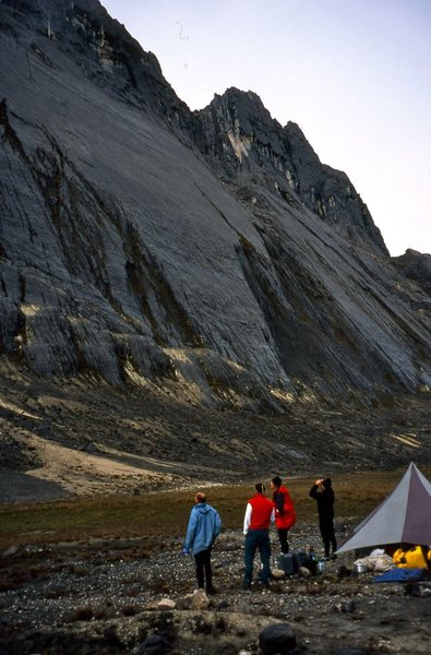 Checking out the peak from base camp.