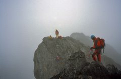 Rock Climbing Photo: Climbing along the misty ridge.