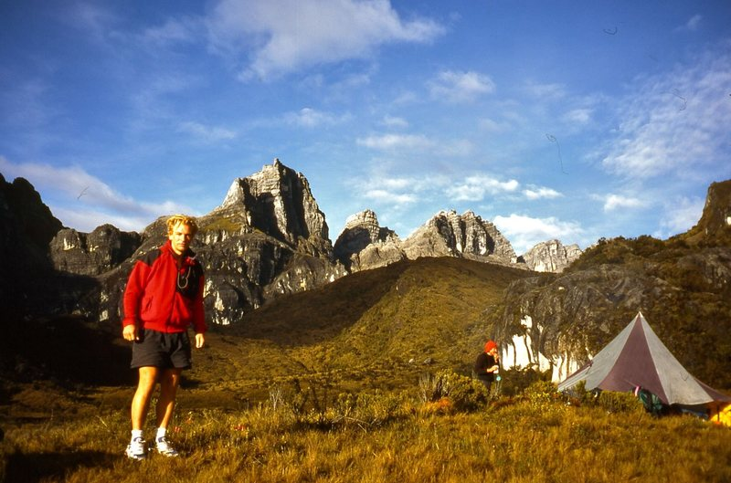 Julian Sands, with one of the Snow Mountains behind, during a short stint of sun early in the morning.