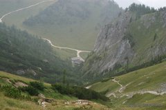 Rock Climbing Photo: Looking down from the saddle, the trail that cuts ...