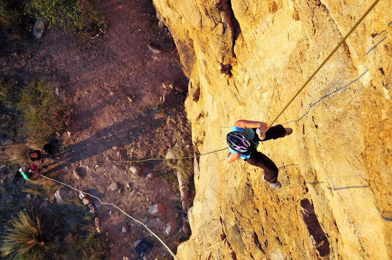 Rappelling down that fall.  Don't know what climbing route that is?