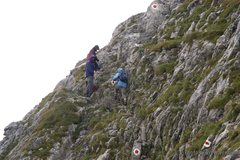 Rock Climbing Photo: The trail markers: red dots, white circles.  This ...