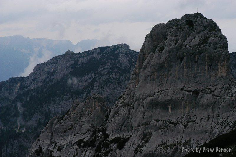 Kehlstein from the gully, Pflughoerndl in foreground.  Photo Drew Benson.