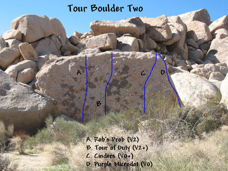 Photo/topo for Tour Boulder Two, Joshua Tree NP.  <br>