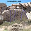Photo/topo for Tour Boulder Two, Joshua Tree NP.  <br>