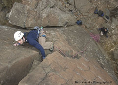 Rock Climbing Photo: Doctor Pat climbing Key Hole at Interstate Park