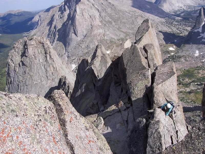 Rock Climbing Photo: Vaughan Larsen hanging out on the east ridge