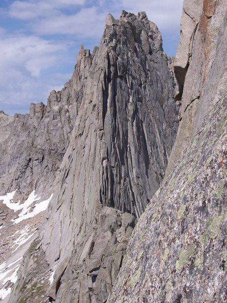 Pretty good view of the east ridge from the pingora rappels