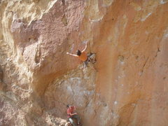 Rock Climbing Photo: clipping the 3rd bolt