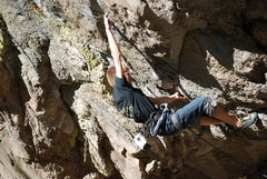 Rock Climbing Photo: Entering the crux section on an onsight ascent of ...