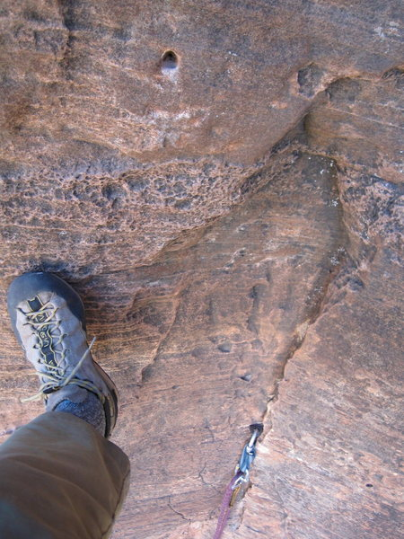 Rock Climbing Photo: Look for this hole to make a hook placement after ...