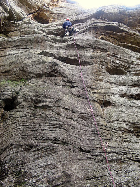 Past the crux on Boltergeist.  Photo by Huong.