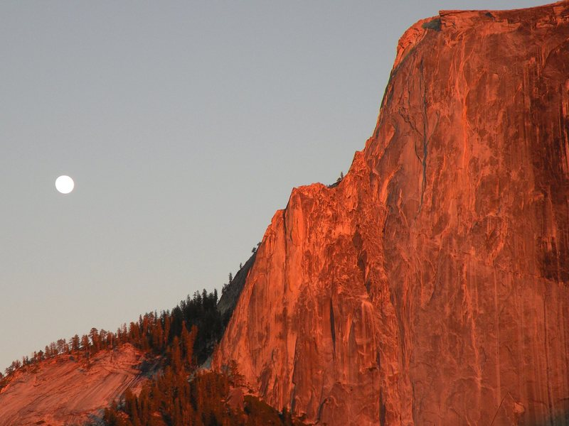 Half Dome and the Moon at the end of the day