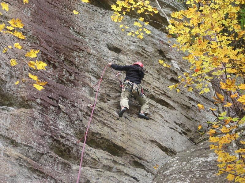 Rock Climbing Photo: Huong leads La Escalada on a fine day.