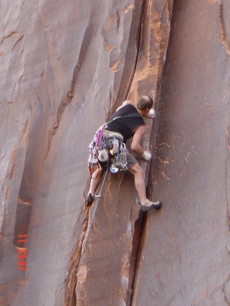 Unknown climber on top section of El Cracko Diablo