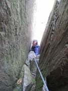 Rock Climbing Photo: The tight, slippery groove on P2 (photo by Phil As...