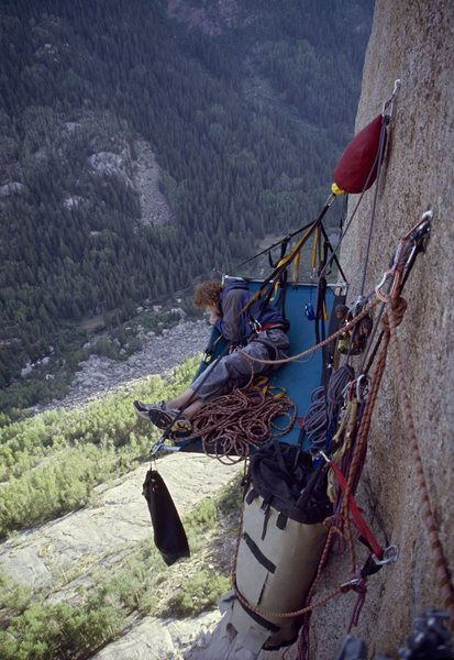 Rock Climbing Photo: Kris French tests out his shiny new 25-bolt anchor...