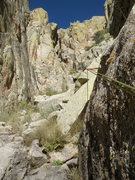 Rock Climbing Photo: Looking up Boyer's Chute to the big chock stone (b...