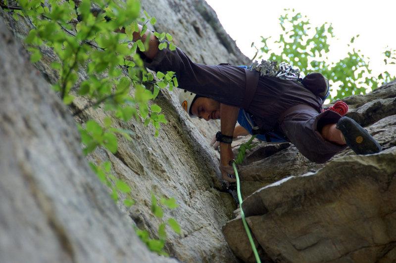 Rock Climbing Photo: Tim Anderson pluggin gear on Climbin' Punishment. ...