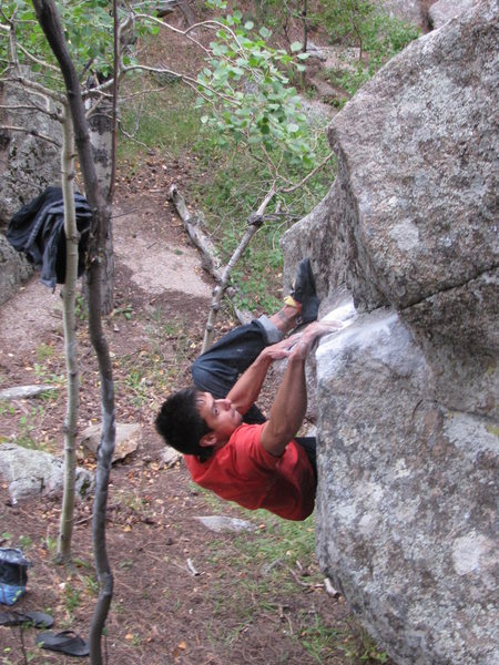 Rock Climbing Photo: Gary Carnes hitting the first move on What Lies Ar...