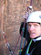 Rock Climbing Photo: Cleaning gear on rappel after solo ascent of P3 on...