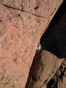Rock Climbing Photo: Pennie Schwalm just getting through the crux.