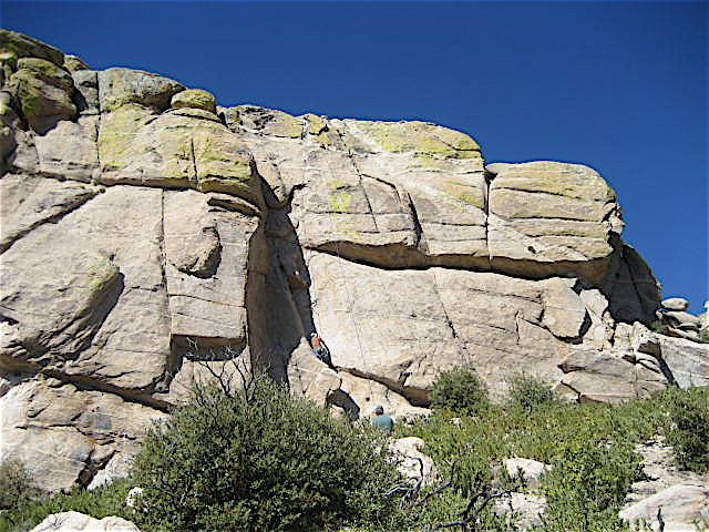 Right side of the east face.  Angle of the photo make the cliff seem shorter than it is.