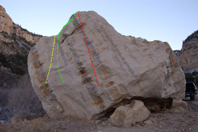 North Face.<br> Yellow- Bremesis V0<br> Green- Between the lines V4-<br> Red- Stairway to Heaven V0