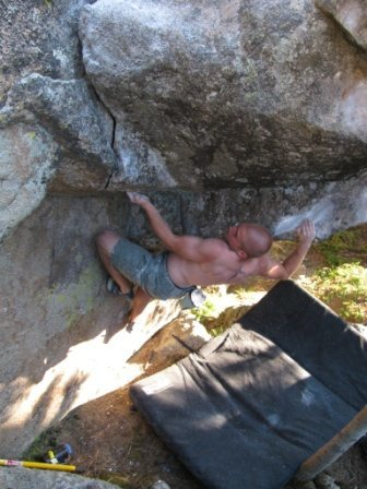 Rock Climbing Photo: Kyle Davis using those MMA muscles to get up Atomi...