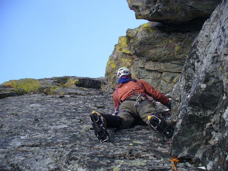 Rock Climbing Photo: Starting the second pitch. The crux moves are just...