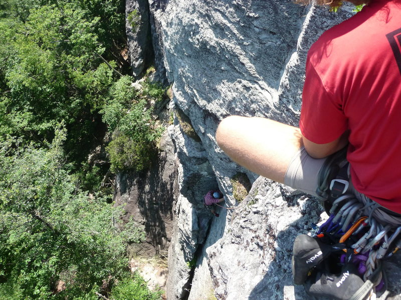 top of helmet buttress at table rock.