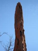 Rock Climbing Photo: EJ leads pitch one of Montezuma's Tower.