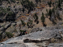 Rock Climbing Photo: Looking down 5th pitch