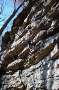 Rock Climbing Photo: Dana starting up Natural Mystic at Schoolhouse Cra...