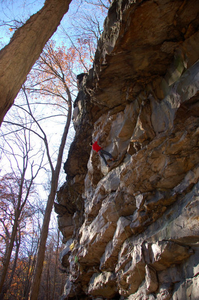 Jeremy Steck working through the crux of Soul Rebel.