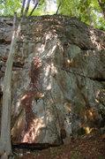 Rock Climbing Photo: Looking at Redline(left), O'Brien's Line(center), ...